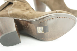 Rag & Bone Brown Suede Harrow Strappy Block Heel Ankle Boots Size 37.5 $495 NIB