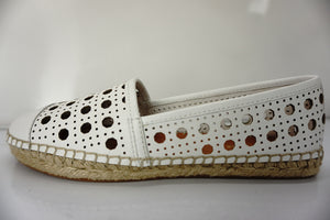 Kate Spade Leonia White Cut Out Perforated Woven Espadrille Flat SZ 7.5 NIB
