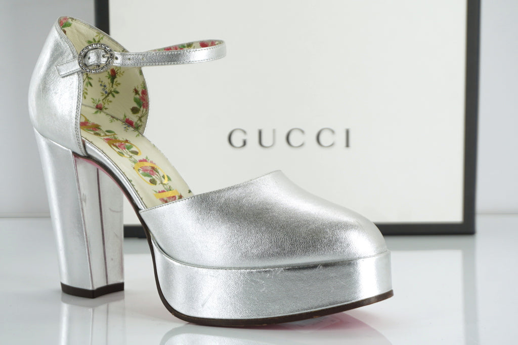 Gucci Agon Ankle Strap Metallic Silver Platform Pumps Size 37 New $890 Houston