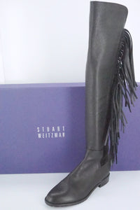 Stuart Weitzman Black Leather Mane Fringe Over Knee Boots SZ 6 NIB OTK 5050 $855