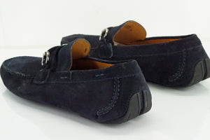 Magnanni Vekio Blue suede driving loafers size 10.5 New Moccasin bit $350