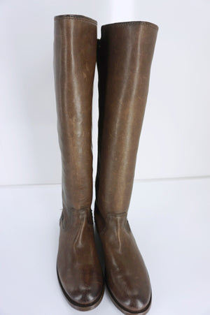 FRYE Molly Gore Tall Brown Leather stretch Riding Boots size 5.5 New $418