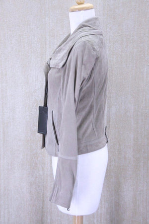 Andrew Marc Pebble Beige Soft Suede Scuba Jacket Size Small NWT Womens $395