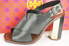 Tory Burch Bleeker Slingback Logo Sandals SZ 6.5 Blue Metal Hex Heel $350 NIB
