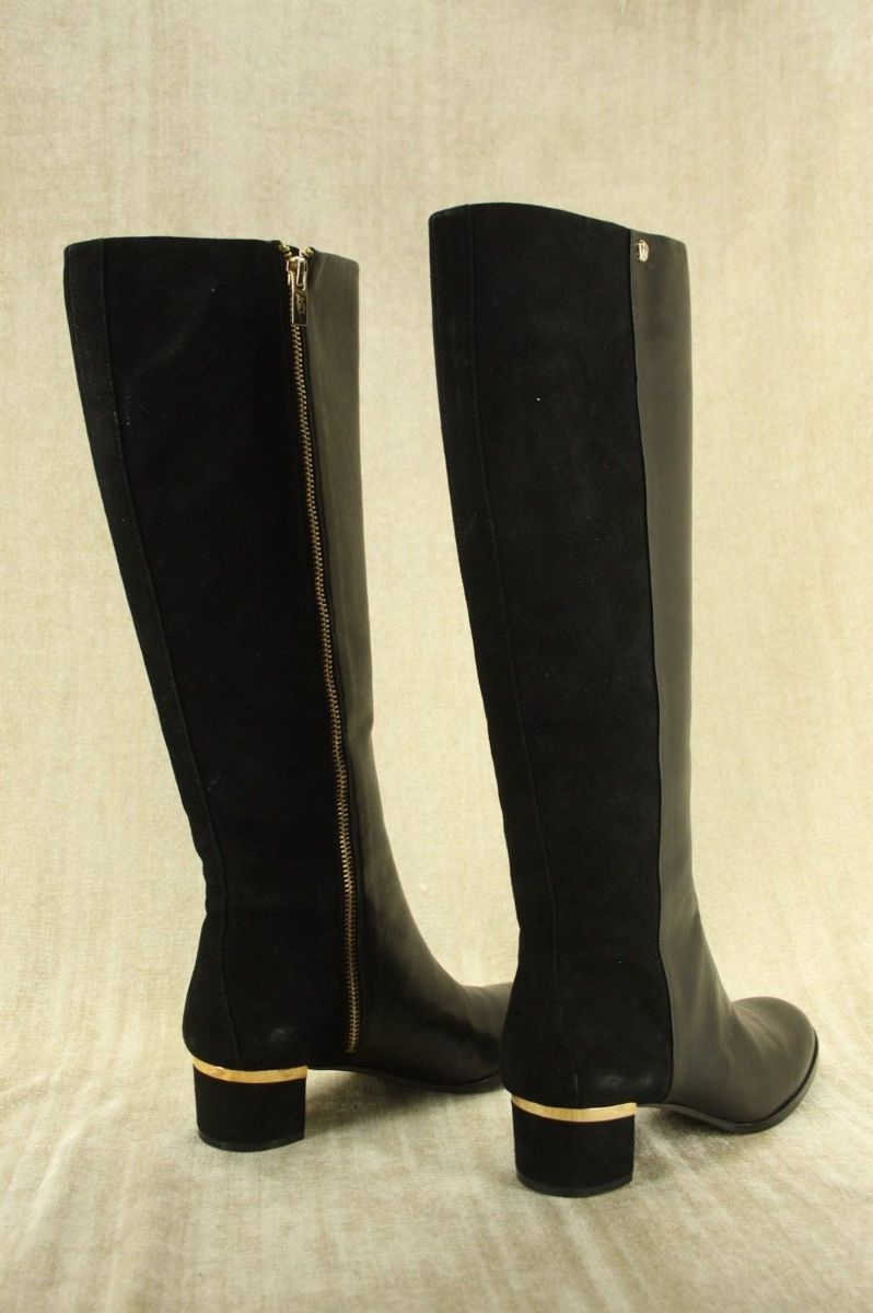 Vince Camuto Black Leather VC Xenith Riding Boots size 6 NIB Suede Back $495