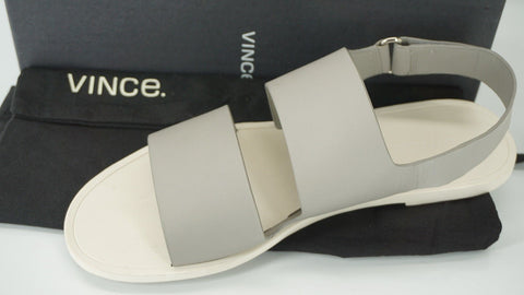 Vince Grey Steel Leather Sorce Ankle Strap Flat Sandals Size 9.5 NIB Women's SZ
