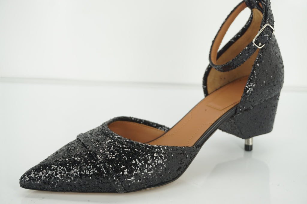 Givenchy Screw-Heel Coarse Glitter D'Orsay Ankle Strap Pumps SZ 37 New $995