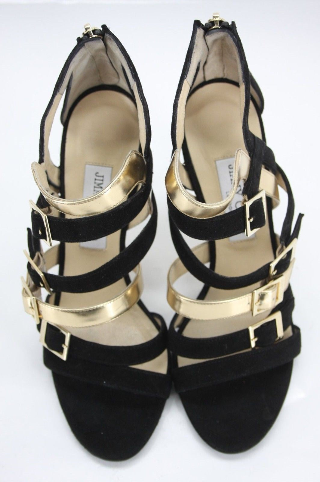 Jimmy Choo Bubble Bronx Leather Caged Strappy Sandals Size 39.5 New $925 Heels
