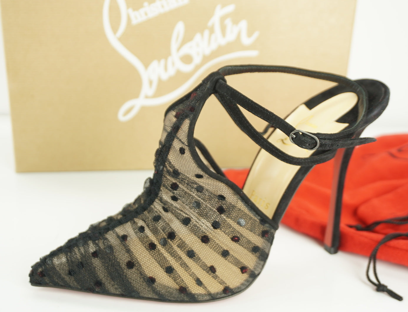 Christian Louboutin Acide Lace Tulle Red Sole Ankle Strap Pump SZ 37.5 NIB $995