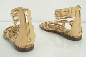 Sam Edelman Gianni Beige Leather Ankle Strappy Flat Caged Sandal SZ 5.5 New $110