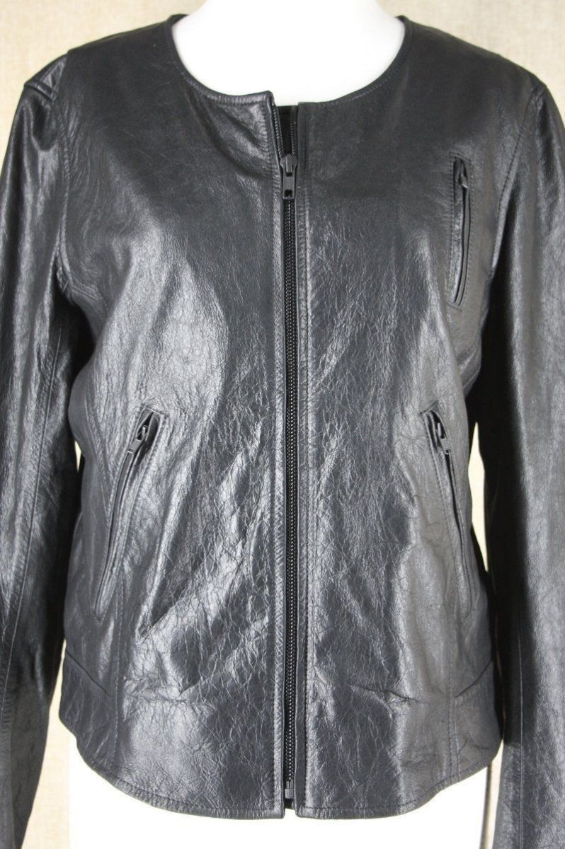 Theory Black Leather Fida Crop Front Zip Biker Jacket Size Large $815 Womens Sz