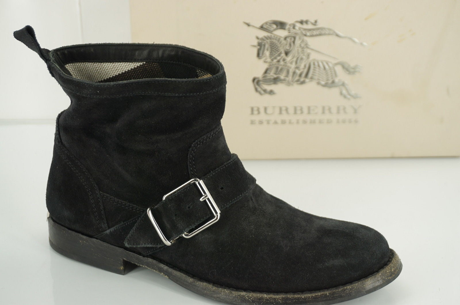 Burberry Black Suede Motor Biker Short Ankle Boots Size 35 House Check $495