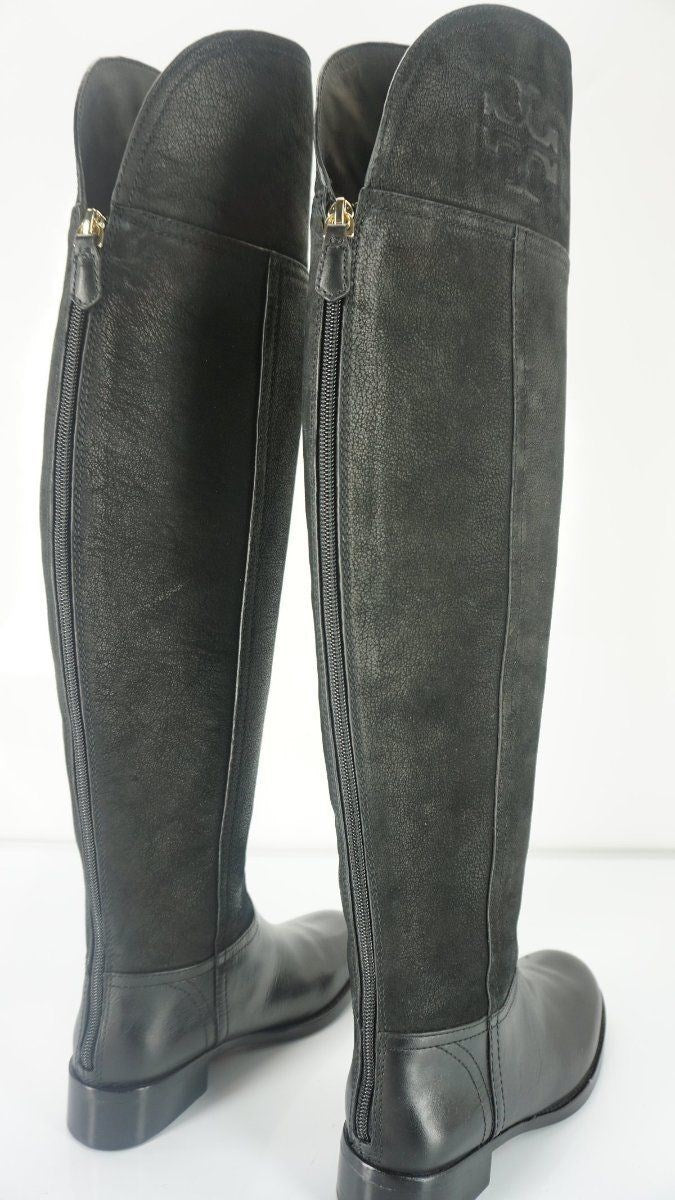Tory Burch Black Buffalo Leather 'Simone' Over the Knee Boots Size 5 New $525