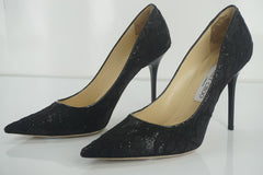 Jimmy Choo Womens Abel Pump Black Lace Size 40.5