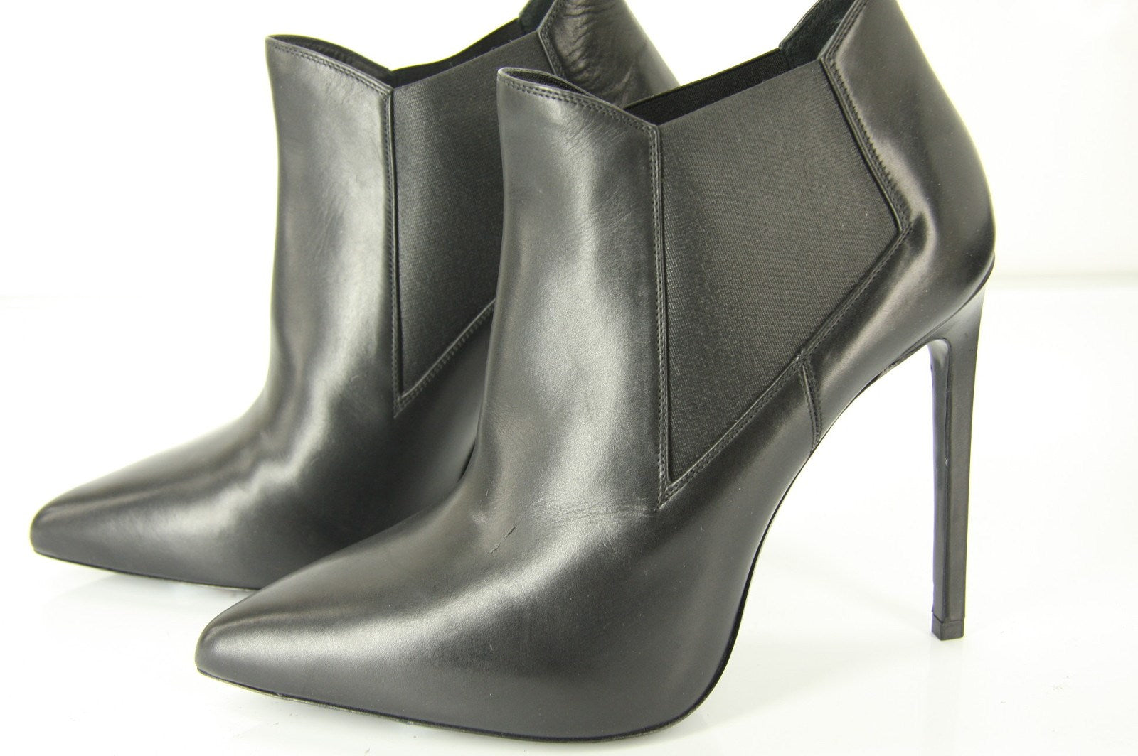 Saint Laurent Black Leather Paris Pointed Toe Ankle Boots Size 39.5 NIB YSL Yves