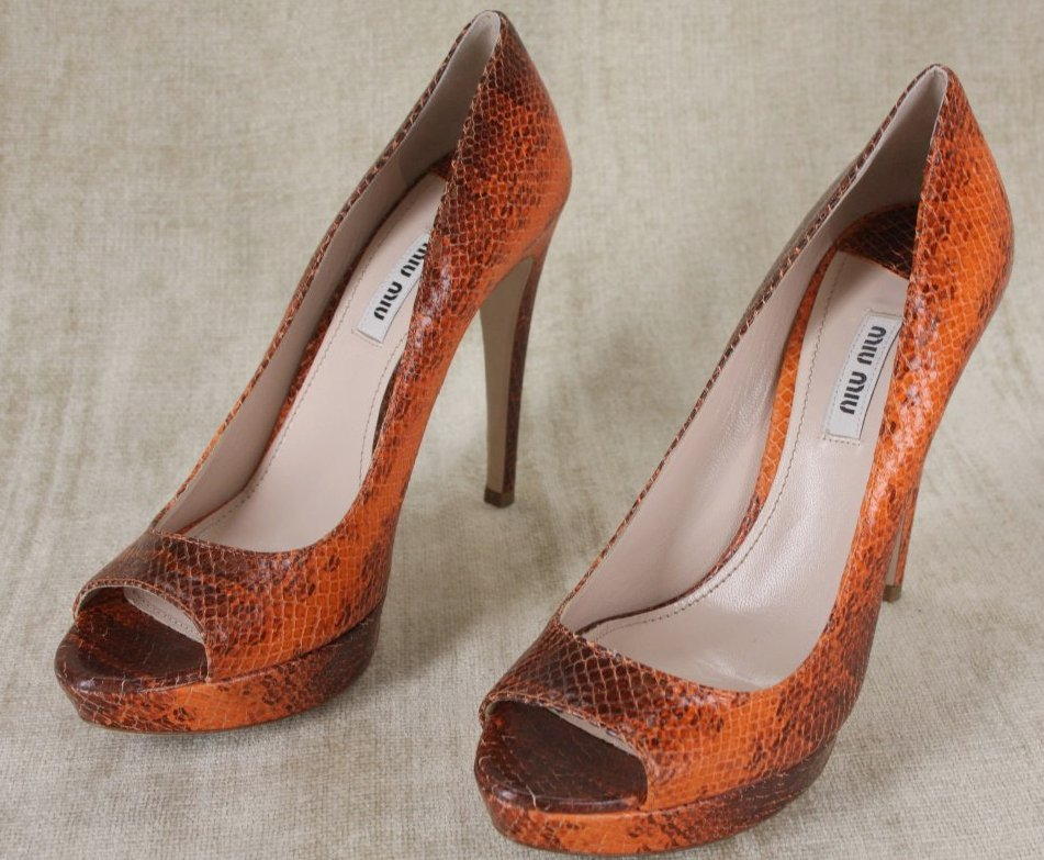 Miu Miu Snake Skin Open Toe Platform Pumps size 38.5 New $670