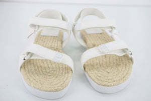 Tory Burch White Leather Strappy Bumper Espadrille Sandal Size 5.5 Flat NIB