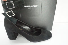 SAINT LAURENT Babies Black Suede Double Strap Pumps Size 36 Heels NIB YSL $795