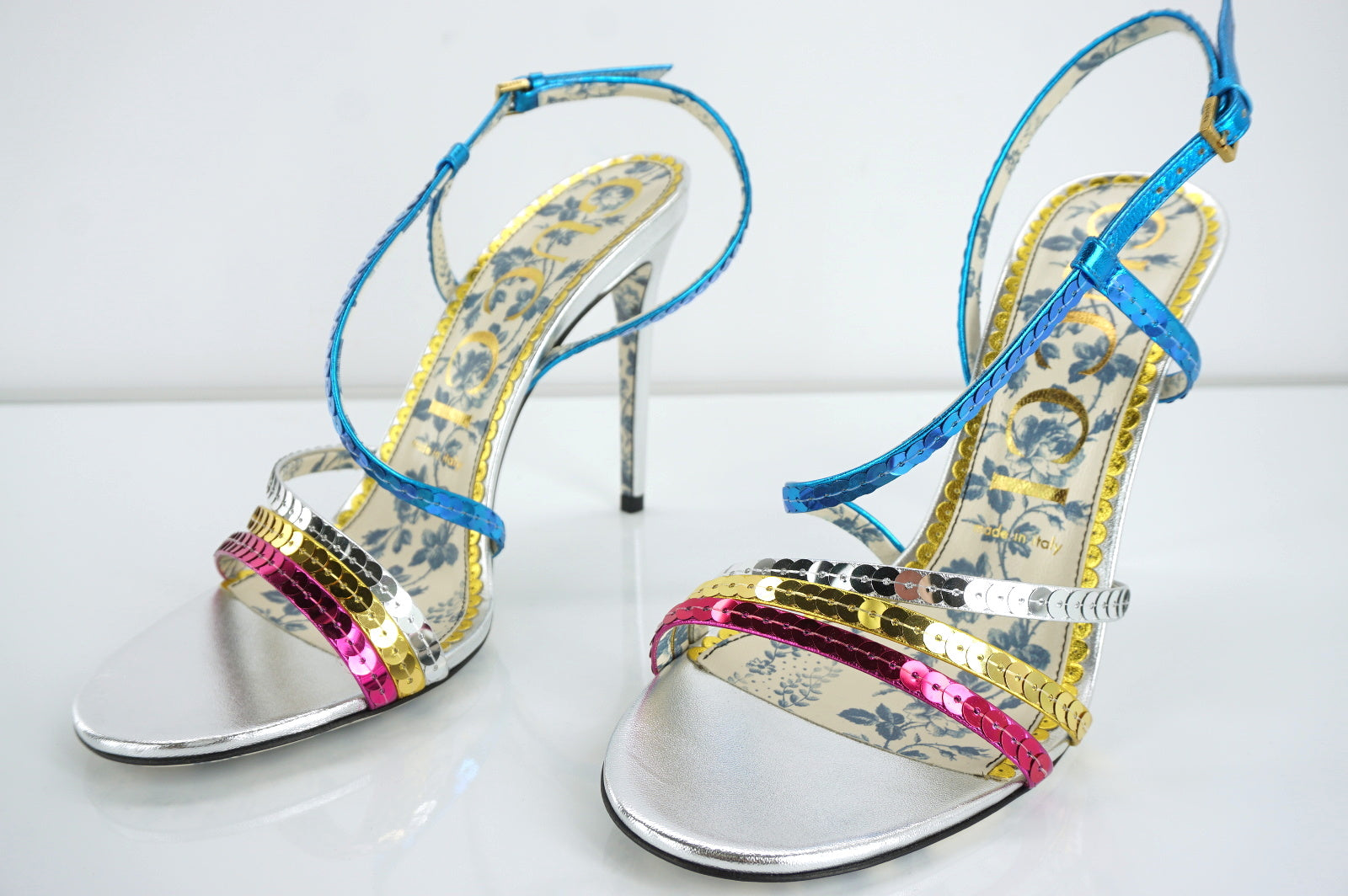 Gucci Sequin Billy Blue Pink Silver Strappy Metallic Sandals Size 39.5 NIB $980