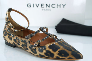 Givenchy Leopard Leather Piper Elegant Studded Flats Size 40 10 Ballet NIB $825