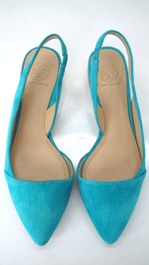 Tory Burch Blue Suede Lancaster Pointed Toe Slingback Flat Sandals Size 6 NIB