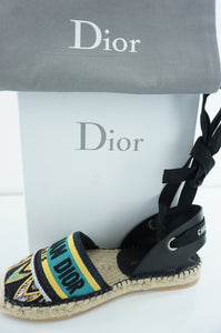 Christian Dior Nicely D Flat Espadrilles SZ 35.5 $890 Turquoise Lace Up Logo