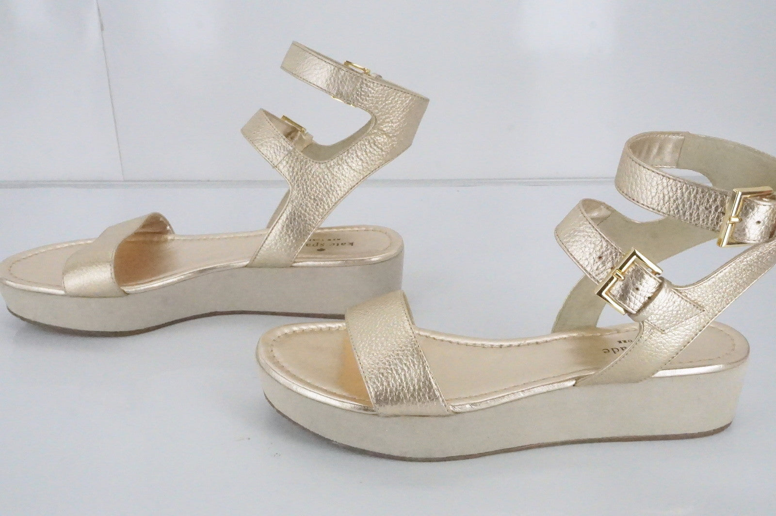 Kate Spade Gold Leather Troy double ankle strap platform sandals Size 9.5 New