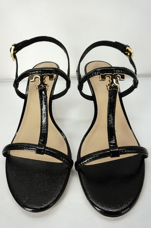 Size 8 Tory Burch Black Patent Leather T Strap Logo Heels Sandals $285 NIB