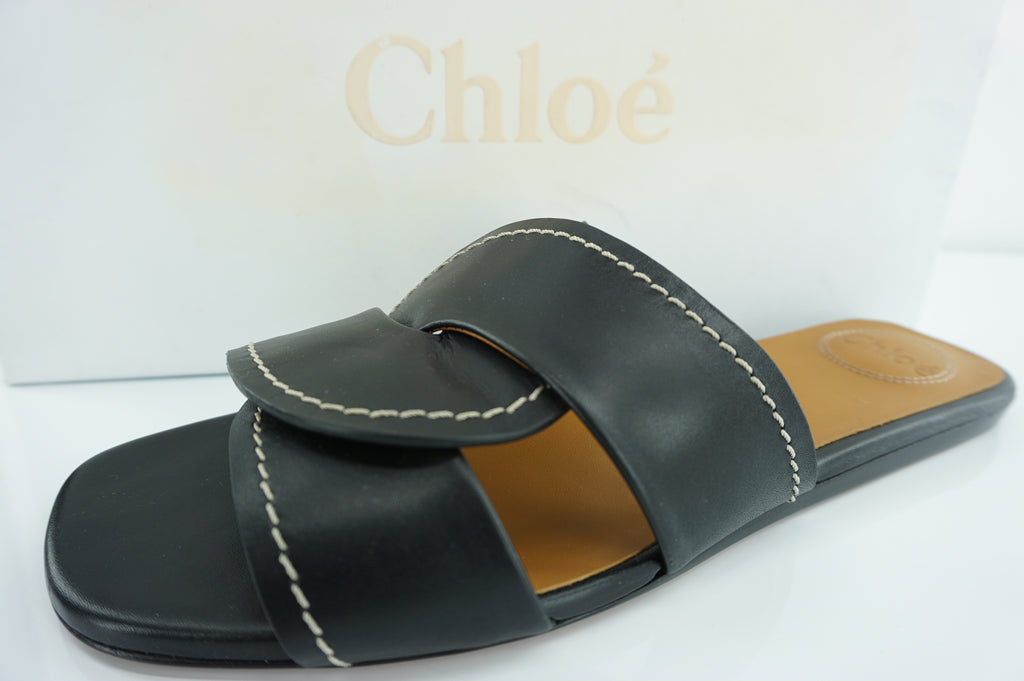 Chloe Candice Flat Twist Slide Sandals SZ 40 10 NIB New $595 Black Leather