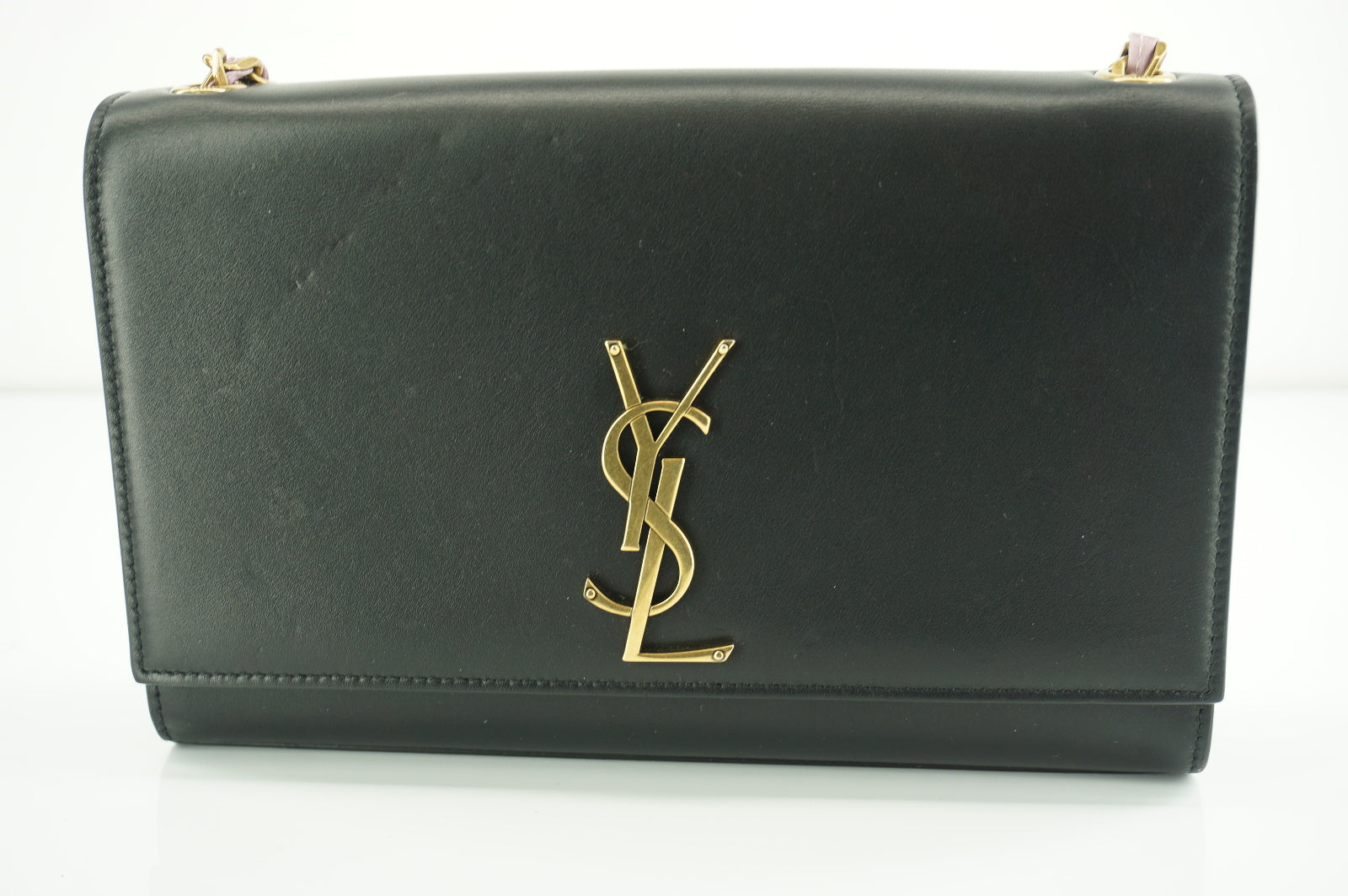 Saint Laurent Black Kate Medium Monogram Chain Leather Bag $2190 YSL Logo