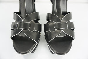 Yves Saint Laurent Tribute Trim Sandal Black White Heels Strappy SZ 40 10 $925