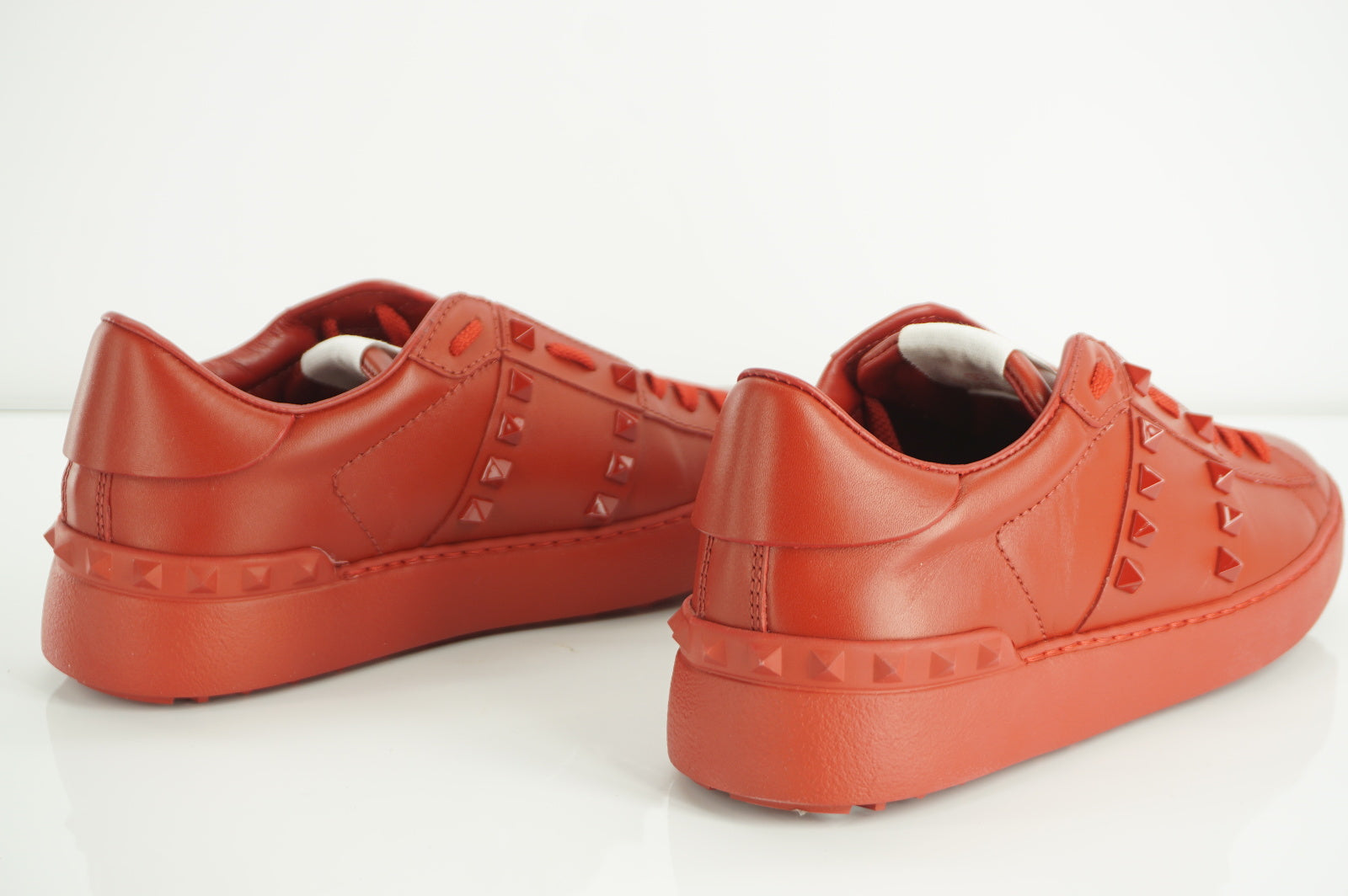 Valentino Rockstud Red Leather Sneaker Flats Size 36 low top lace up NIB $795