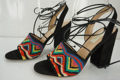 Valentino Native Tibal Beaded Lace-Up Sandals SZ 38 Ankle Strap $1375 NIB