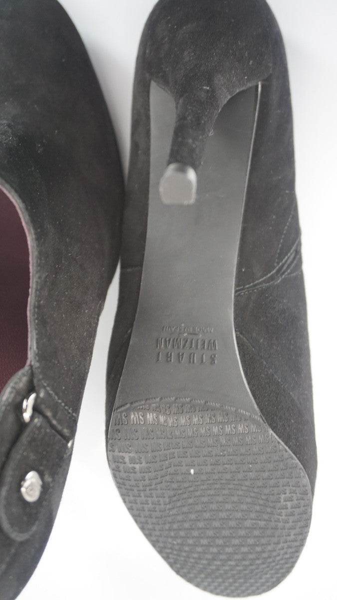 Stuart Weitzman Black Suede Coverall Heel Ankle booties SZ 9.5N Narrow $475 New