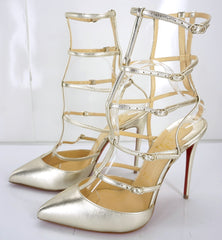Christian Louboutin Kadreyana Caged High Heel Sandals Size 39 Sahara $1195 NIB