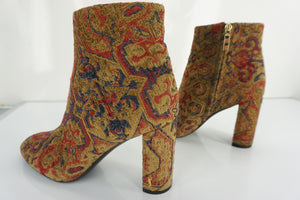 Yves SAINT LAURENT Loulou Tapestry block Heel Ankle Boots SZ 39.5 NIB YSL $995