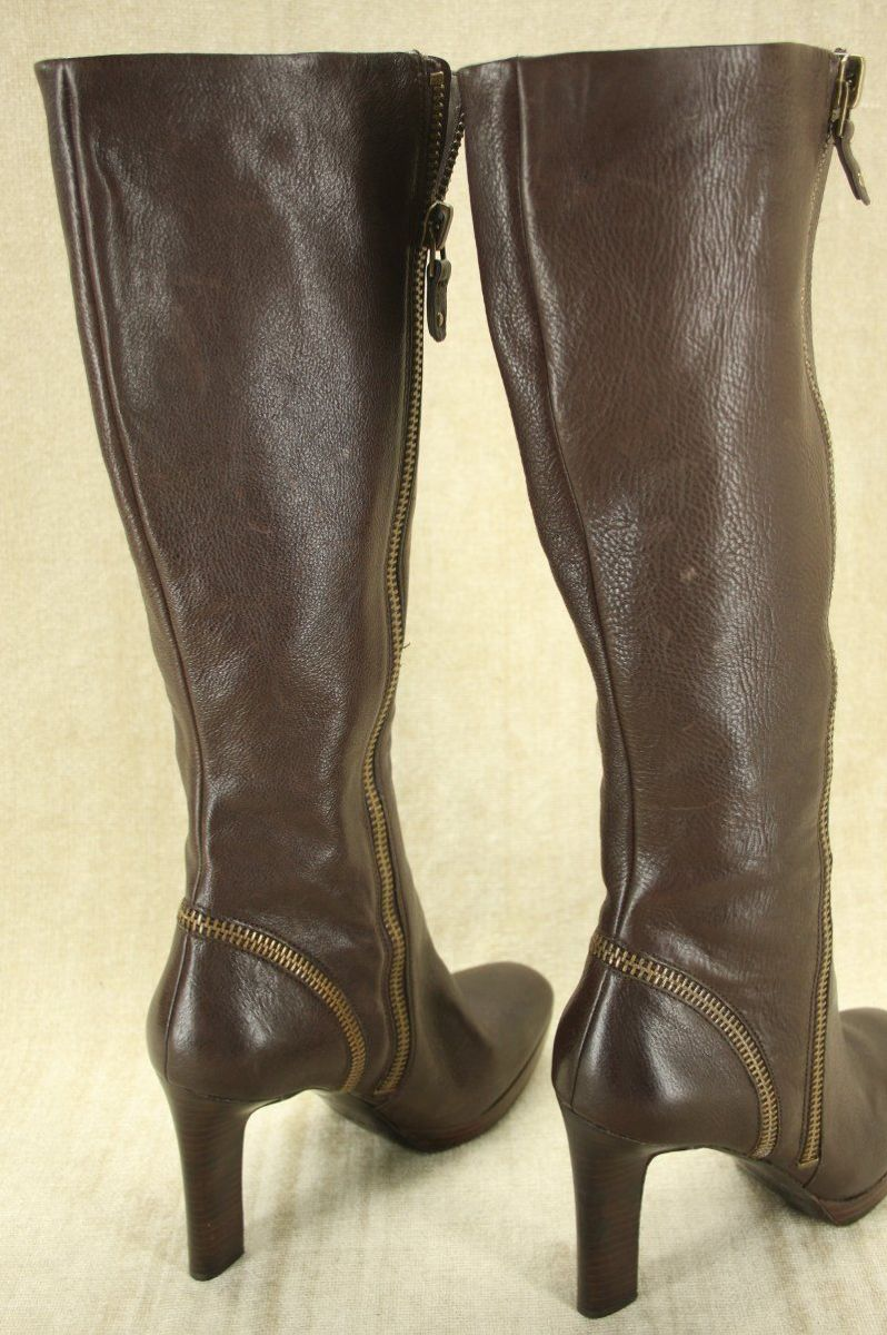 Via Spiga Brown Leather 'Tenley' High Heel Riding Boots Size 9.5 New $398