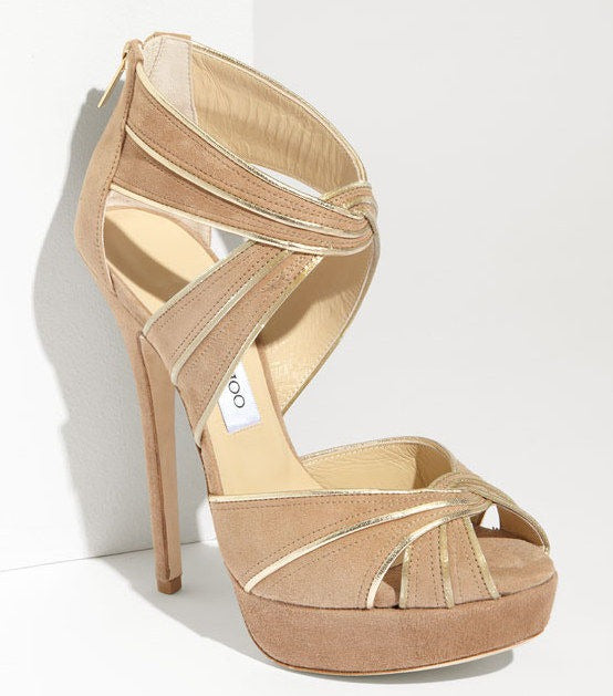 Jimmy Choo Koko Metallic Trim Suede Strappy Platform Pumps SZ 40 10 New $1150