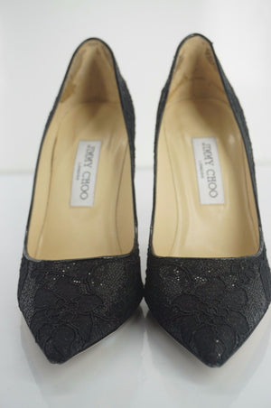 Jimmy Choo Womens Abel Pump Black Lace Size 39