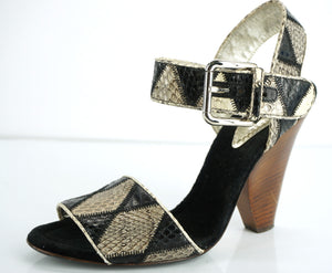 Dolce & Gabbana Diamond Snake Print Ankle Strap Sandals SZ 8 New high heels $775