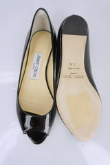 Jimmy Choo Beck Black Patent Open Toe Mini Wedge Pumps SZ 35.5 New $595