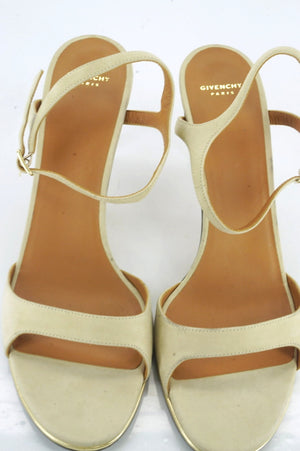 Givenchy Beige Suede Leather Ankle Strap High Heel Sandal SZ 41 11 Classic $650