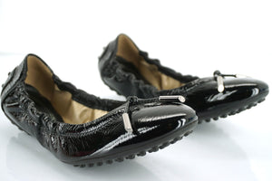 Tod's Dee Laccetto Black Patent Leather Ballet Flats size 35.5 Womens Italy made