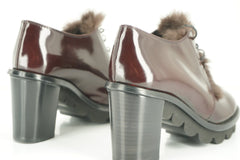 Attilio Giusti Leombruni Leather Rolo Fur Trim Oxford Heel Pumps Size 35 AGL NIB