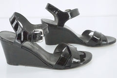 Stuart Weitzman Black Patent Leather Next Wedge Ankle Strap Sandals Size 6.5 New