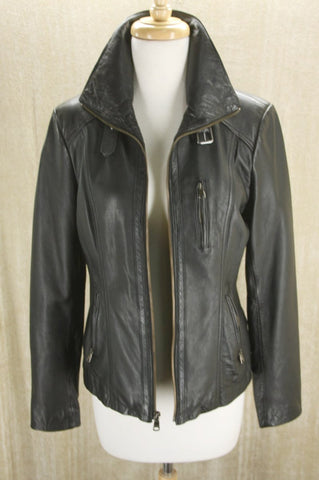 Andrew Marc Trooper black leather Biker Bomber Jacket Size XS New $495