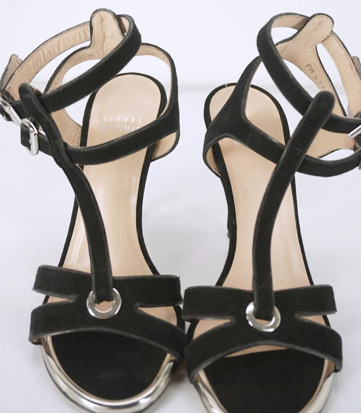 Stuart Weitzman Black Suede Accent T Strap Sandals SZ 6 High Heel Caged New $395