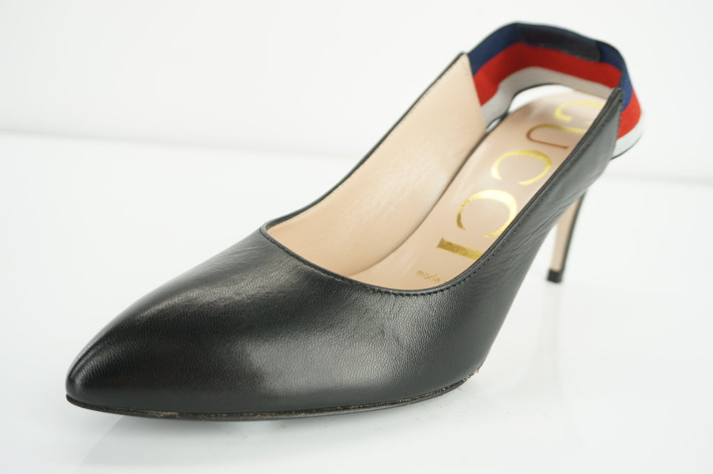 Gucci Sylvie Black Leather Web Strap Pointed Toe Slingback Pumps Size 35 $695