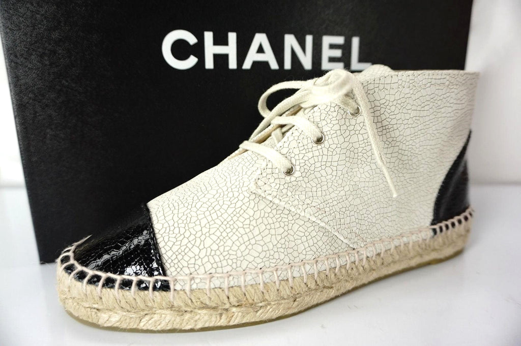 Chanel Beige Leather Cap Toe Lace Up Ankle Espadrille Sneakers Size 37 NIB