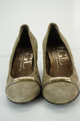 AGL Gray Suede Diamante Crystal Bar Toe High Heel Pumps SZ 35 New Dressy